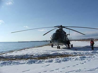 Unser Helikopter in Kirgistan