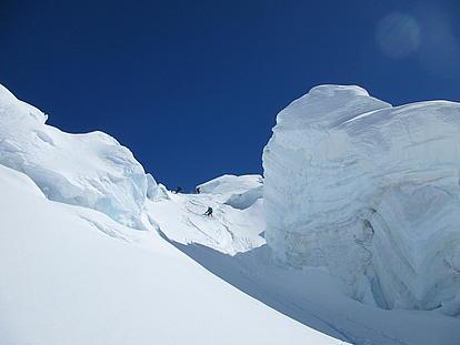 Große Gletscherbrüche beim Aufstieg