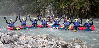 Gruppenspass beim River Bugging