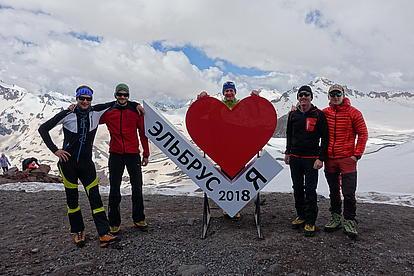 Unsere Gruppe ist bereit für die Besteigung des Mount Elbrus