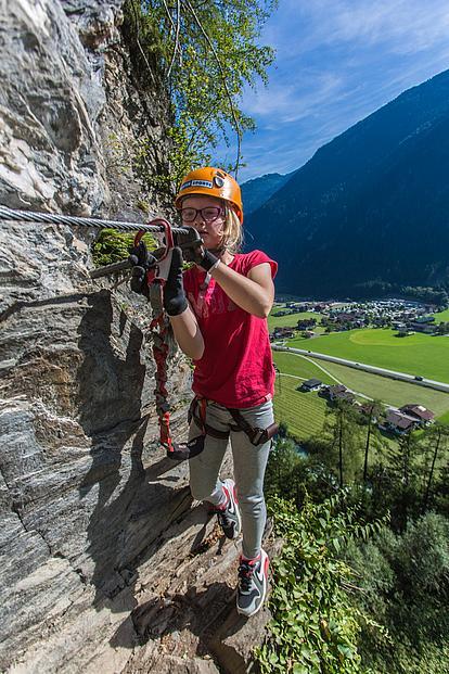 Engstelle am Huterlaner Klettersteig